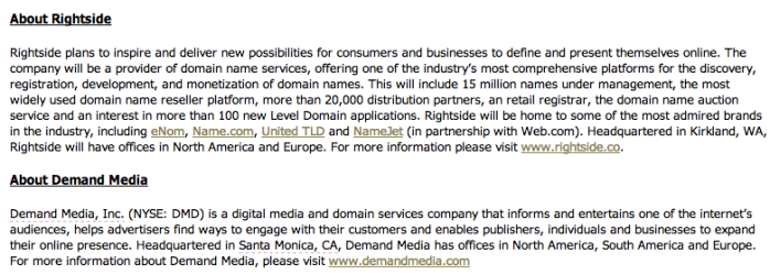 Demand Media Announces Key Executives and Name for Proposed Domain Services Company   EON  Enhanced Online News (1)